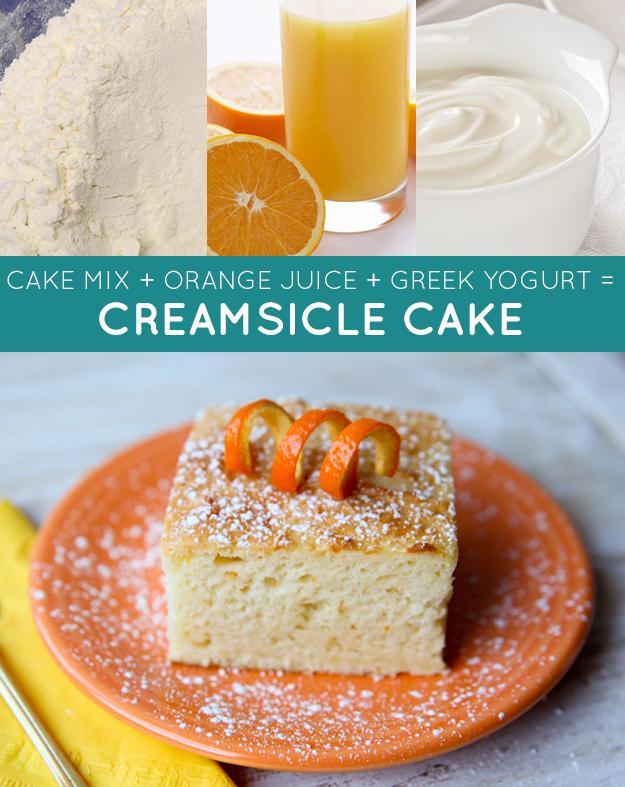 CREAMSICLE CAKE: 1 box (15.25 oz) White Cake Mix 1 container (6 oz) non-fat Greek yogurt, plain 1 cup orange juice Bake for 30 minutes at 350 F