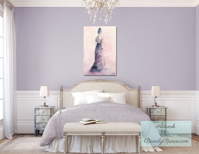 This bedroom is a lavender color and it's just so serene and relaxing