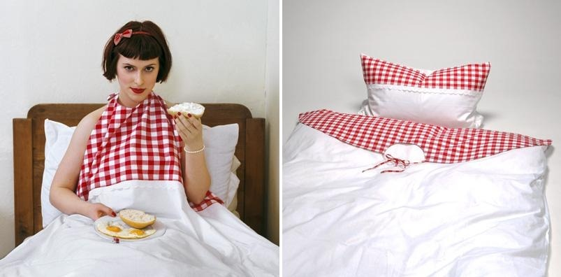4. Buon Appetito duvet cover (Miss Geschick and Lady Lapsus). Nobody should be kicked out of bed for eating biscuits. Nobody. Luckily the clever folks at Miss Geschick and Lady Lapsus have created this duvet cover/napkin that allows you eat a full Sunday roast between the sheets if you want to..,