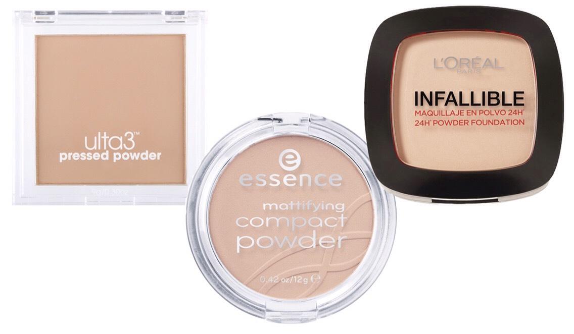 PICTURED|  1.Ulta3 Pressed Powder 2.Essence Mattifying Compact Powder 3.L'Oréal Paris Infallible Compact Powder Foundation