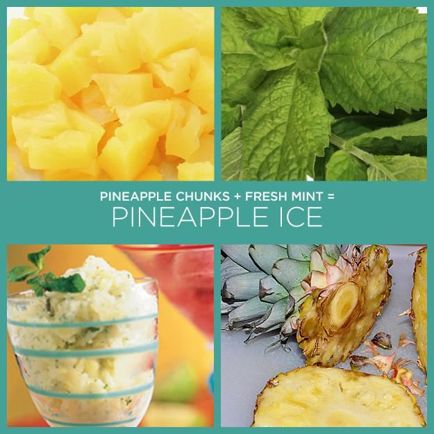 34. Pineapple Chunks + Fresh Mint = Pineapple Ice