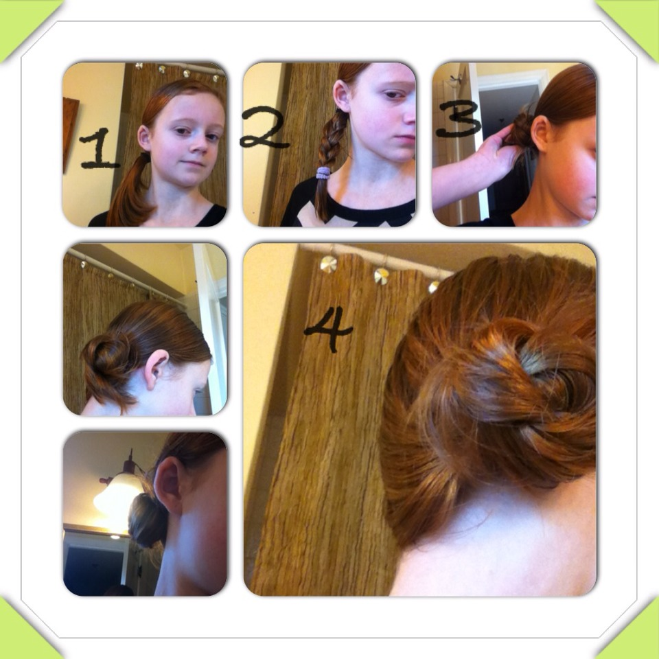 For hair  pull hair into side pony tail. Braid and secure very loosely. Wrap braid into bun, and pull off loosely tied hair tie. Secure with bobby pins and add hairspray if needed.