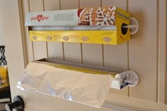Easy way to store plastic wrap and foil