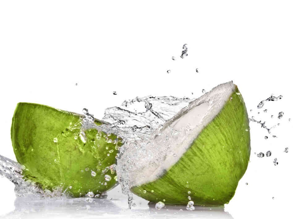 Hydrates, prevents tooth decay, aids in weightloss, repairs skin, promotes healthy hair, trans fat free, rich in vitamins, full of potassium, boosts energy.