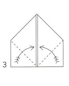 Fold up from bottom corners along dotted lines.
