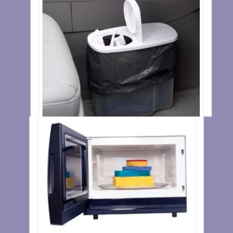 5. Use an old cereal container for a trash bin in the car  5. Deodorize sponges by soaking them in lemon water- turn the microwave on full power for one minute