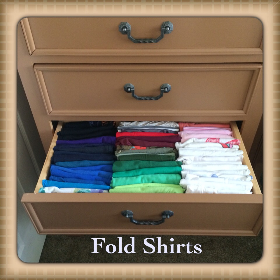 Now arrange your t-shirts by color. In the picture above has 48 different types of shirts 😆 Every t-shirt looks the same right? This is why it is important the print is on the outside.