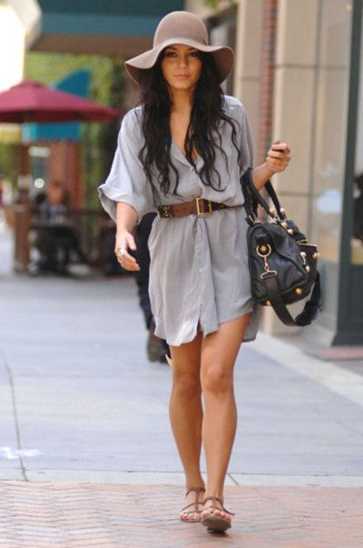 floppy hat and shirt dress