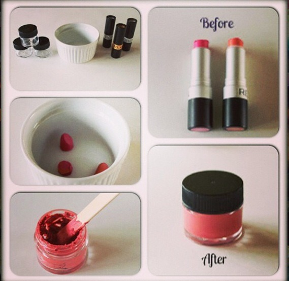 Take any lipstick you don't use , cut it in pieces and melt it. That's it just pour it in a container!