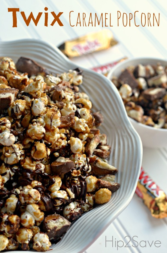 """Ingredients:  5 quarts plain air popped popcorn 1 cup butter 2 cups light brown sugar 1/2 cup light corn syrup 1 teaspoon salt 1/2 teaspoon baking soda 1 teaspoon vanilla extract 20-25  """"fun size"""" Twix candy bars, chopped 1 cup semi-sweet chocolate chips, melted-to drizzle over popcorn"""