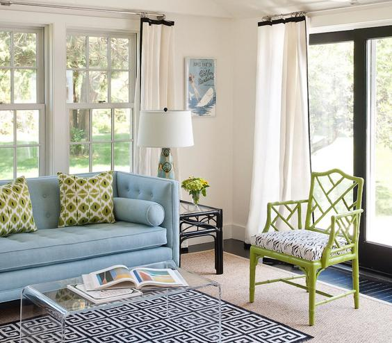 Updated Prep Give tradition a twist and try a living room filled with old standby silhouettes—a Chesterfield sofa, bamboo side chairs—in super-saturated colors (ocean blue and lime green).