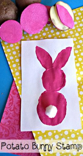 DIY Potato Easter bunny stamp