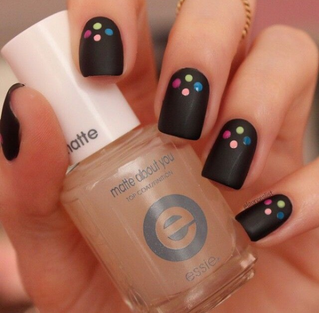 37. MATTE BLACK WITH COLORFUL DOTS
