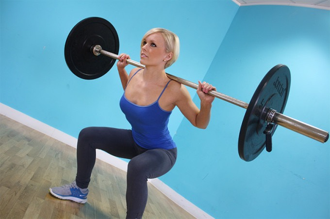 18. High repetition squats with a barbell