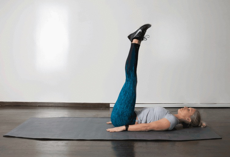 5. Straight Leg Raise  From a faceup position on the floor, place hands under your low back and brace your core. Lift straight legs slowly off the ground, bringing them to 90-degrees, then slowly lower them back to the ground. If you have any pain in your lower back, do not do this move.