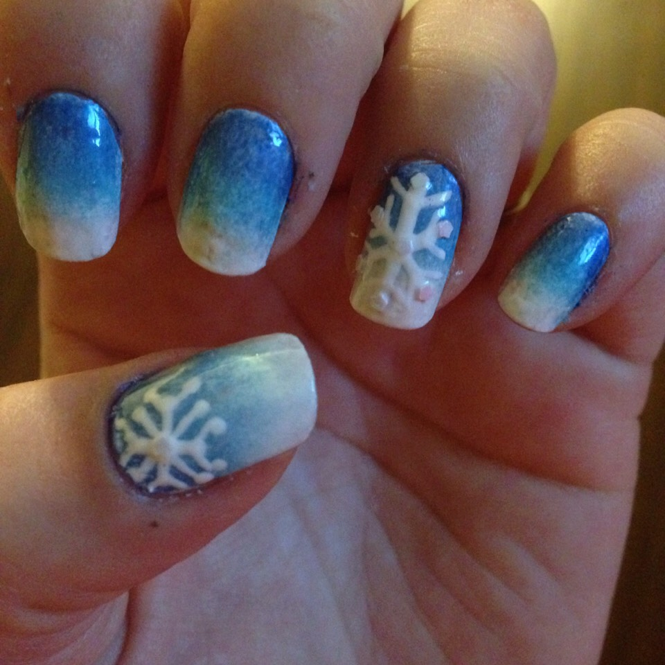 Blue to white ombré snowflake .