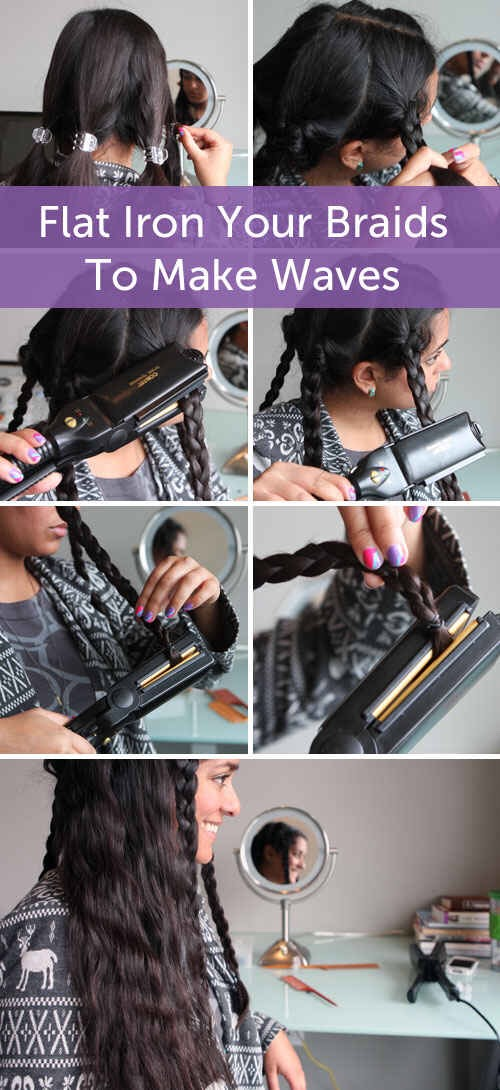 Flat iron your braids to create long-lasting waves.💆