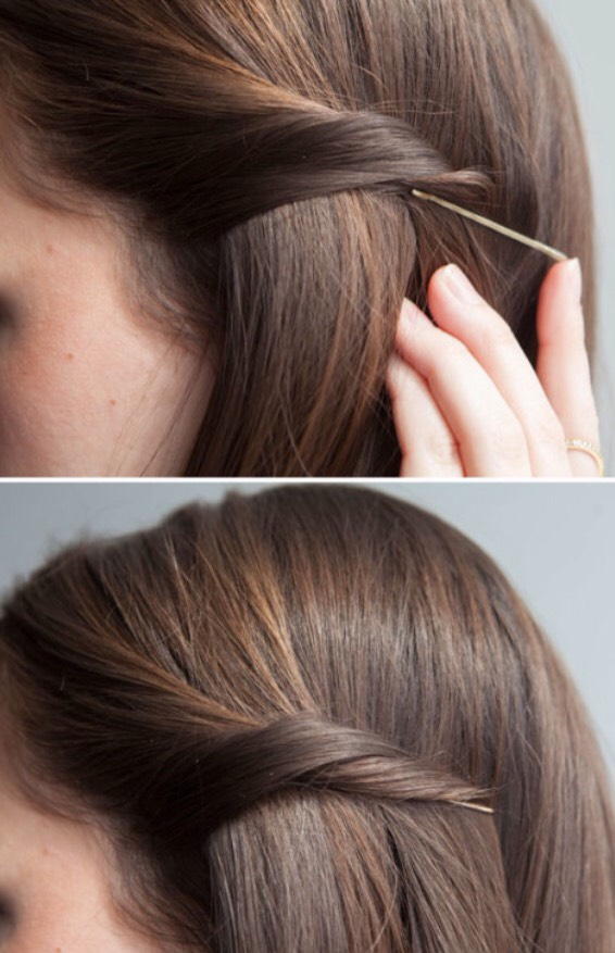 1. Twist your hair and pin your bobby pin underneath the hair to hide it behind your hair.