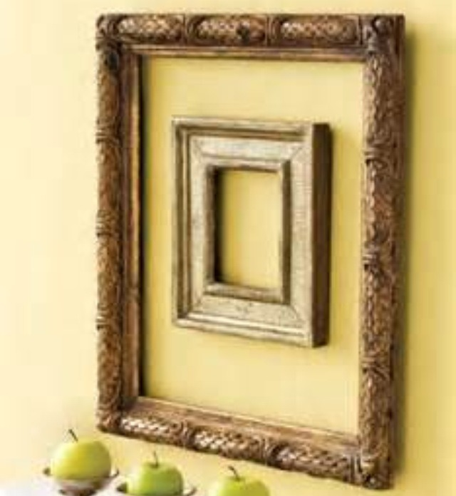 Find cheap frames at garage sales or thrift stores, remove the glass and place on your wall anyway you like! Fun and creative!