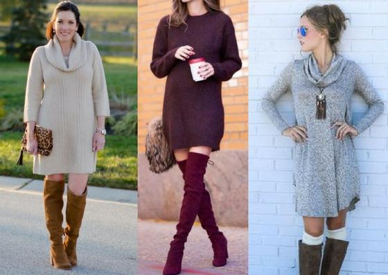 Look One: Sweater dress & bootsFeel cozy while staying stylish with this look that anyone can pull off. Pair a jewel toned sweater dress with your favorite boots and you'll be the best dressed at Thanksgiving dinner!