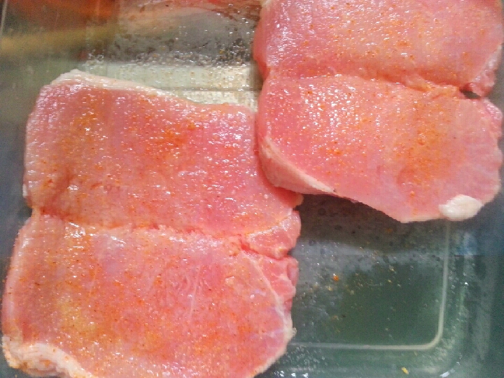 TO CHECK IF CHOPS HAVE ANY LIVING ORGANISMS YOU SET THEM IN A CONTAINER WITH WHITE VINEGAR... IT ALSO TENDERIZES THE PORK CHOPS. I WOULD LEAVE FOR 10-20 MINS AND WASH WITH WATER