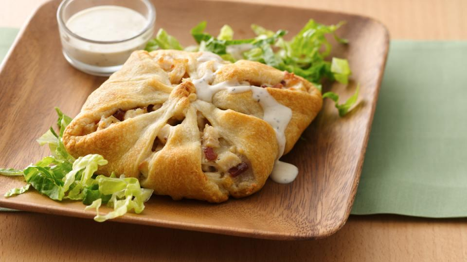 Wrap a chicken filling in a flaky crescent crust and lunch will be ready in mere minutes.