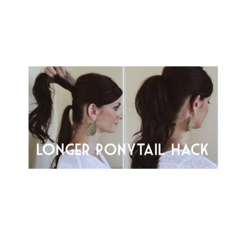 Start at the top and create a ponytail with most of your hair. Then with the rest, create a ponytail just under the top one. The ponytail will look a lot longer and the ponytail underneath is hidden. It works!!!