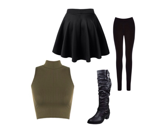 Number 8- fitted tops, flared skirt, cowboy boots