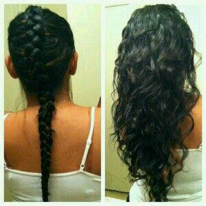 Plait your hair like this (while it is wet or damp would be best) and leave it in overnight for gorgeous curls