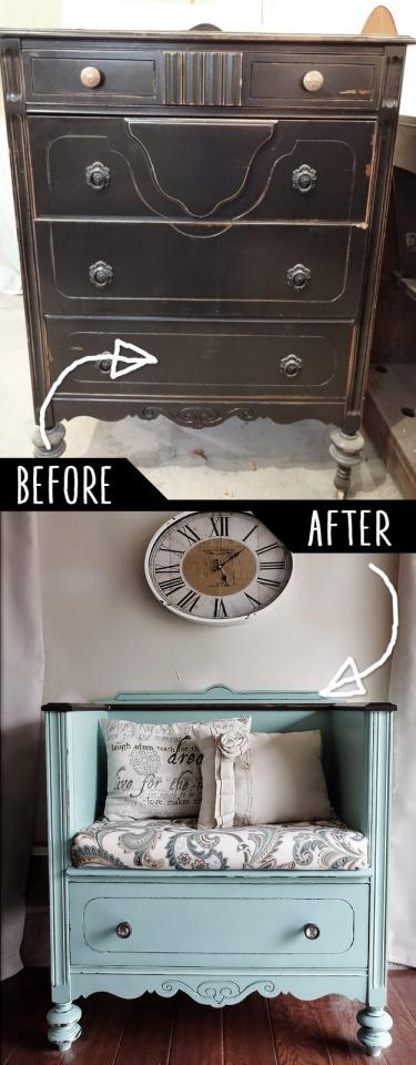 Unused Old Dresser Turned Bench  http://createinspireme.blogspot.com/2014/04/dresser-turned-bench.html