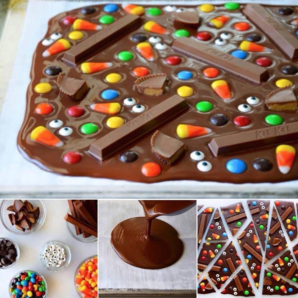 Super easy to do! Simply melt chocolate in a double boiler, put on cookie sheet lined with parchment paper. Add any other toppings you want, let set for 30-45 min and enjoy!!!