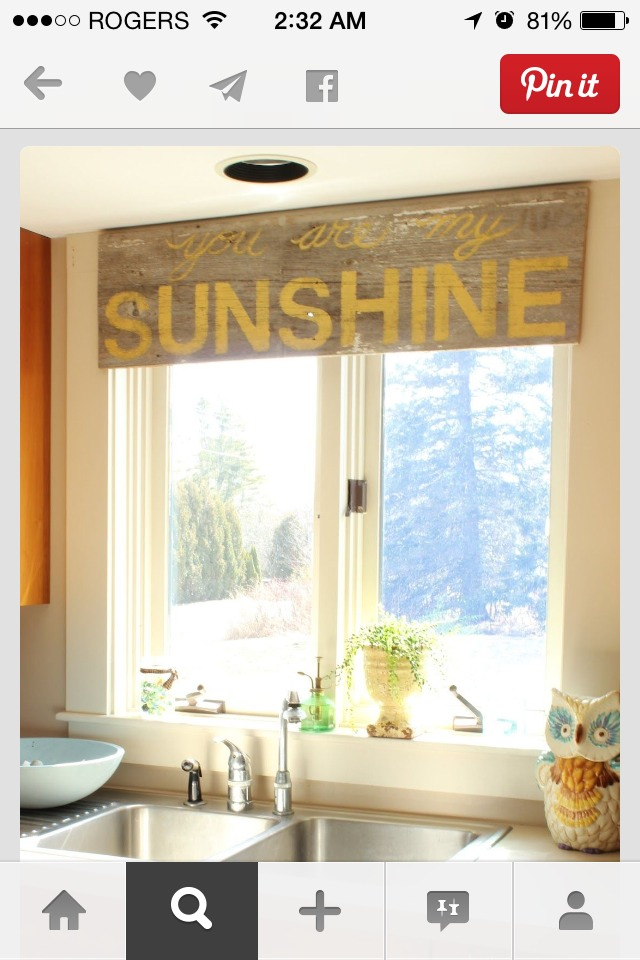 click images to view fully  I painted and stenciled a piece of old barn wood with the lyrics – You are my sunshine.  I fell in love with it immediately remembering my mother singing that song to us as kids.  I wasn't sure if it would fit in the kitchen window, but I snapped it up anyway & it fit !!