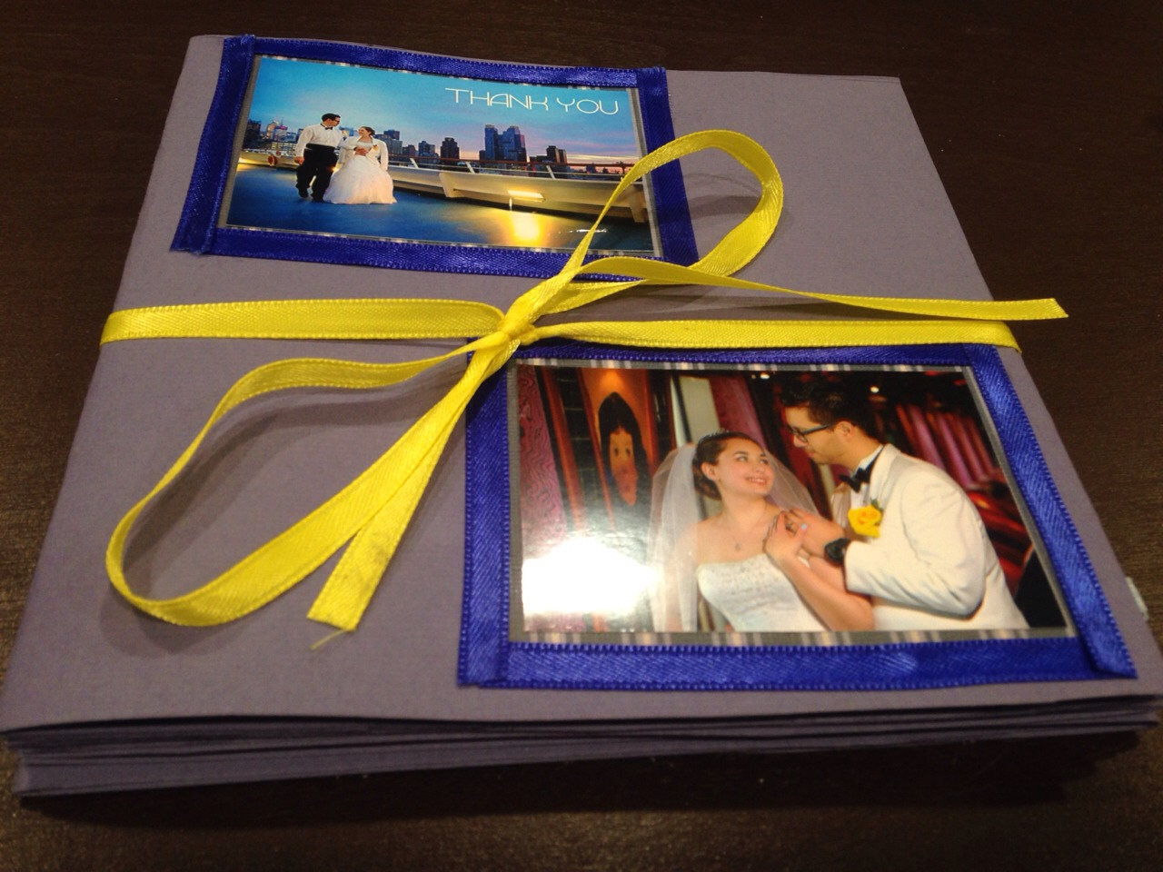 Once you are finished, tie your ribbon into a bow. This will keep your multi page card closed.