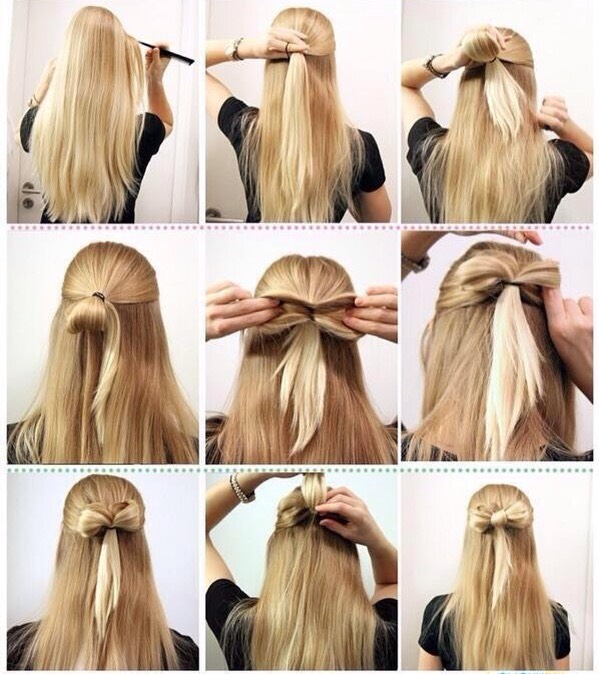 For this style you'll want to make a half up ponytail and pull it only halfway through the second or third time (I'd use a clear elastic) leaving a tail of hair still. You then want to separate the pocket in half and flip the tail through the hair to the bottom, thus creating a bow.
