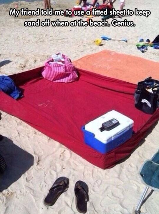 Uses fitted sheet at the beach to keep the sand off your blanket!!