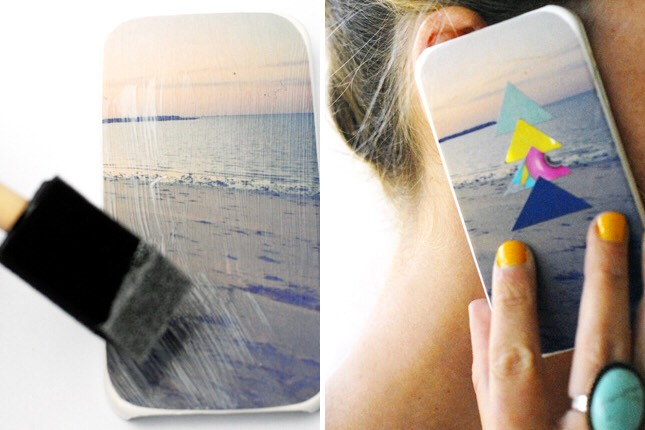 3. Photo Collage: We love the summery vibe of this case. It's a simple combination of magazine cut-outs, mod podge, and a blank iPhone case.