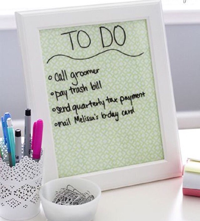 3. Dry Erase Picture Frame: Buy a picture frame of your choice and fill it with a patterned paper. Now you can use it as a dry erase board!