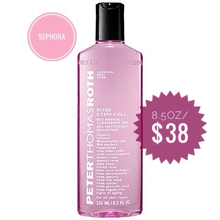 Peter Thomas Roth Rose Stem Cell Bio-Repair Cleansing Gel | Use a cleanser that boasts anti-aging benefits? Using stem cell technology, rose stem cells are blended with rose extracts to help repair visible signs of aging, including the appearance of fine lines + wrinkles, skin texture, + dullness.