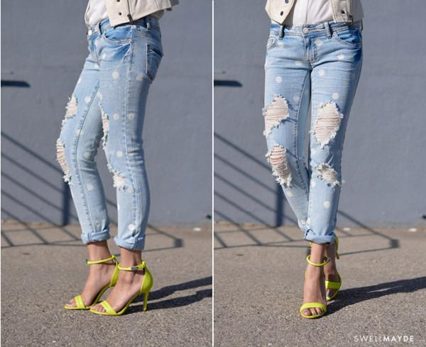 11.DIY – INSPIRED DISTRESSED POLKA DOT DENIM