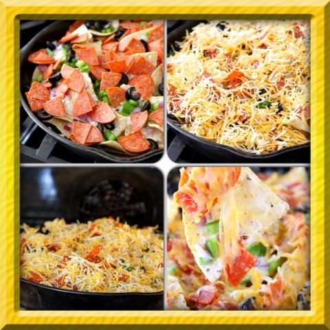 Top with the onions, pepperoni, olives, and bell peppers. Finish the nachos off by adding Colby Jack cheese. Place in the preheated oven, and cook until the cheese is nice and bubbly and the veggies are warmed through, roughly 7 minutes or so. Remove from the oven and serve warm.
