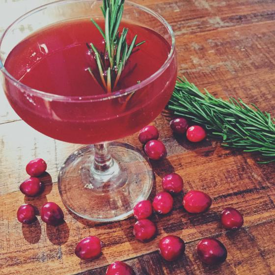 CRANBERRY SAUCED • 2 parts Owl's Brew Pink and Black mix • 1 part Vodka • 2 dashes Cranberry Bitters • Rosemary sprig  1. Combine all ingredients into a shaker with ice and shake. 2. Pour into a coupe and garnish with rosemary sprig. Enjoy!