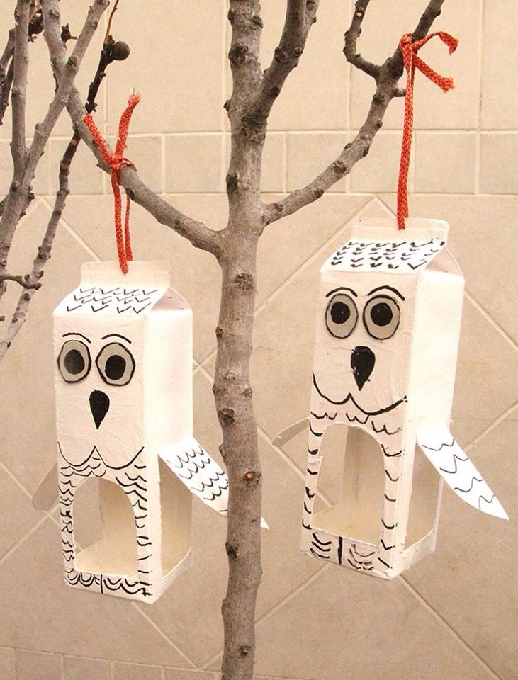 Use ur milk boxes to make bird feeder . Paint a owl on it and make wings for it .