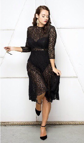 (Curvestokill.com, http://lalabelle.com.au/collections/dresses/products/high-neck-layering-lace-dress, from the same source as before and it's cheaper and more attractive although you still have to have $290 spare haha, but there are a lot of  cheaper similars and her lipstick is the bomb!!)