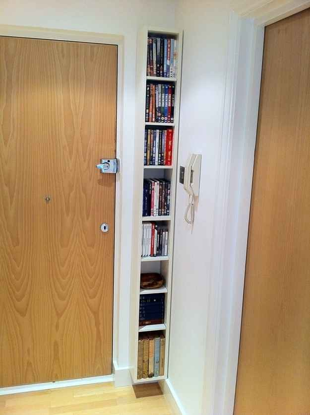 22. A slim floating bookcase is a nice, clean way to add storage to dead space.