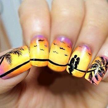 Beautiful sunset nail art.