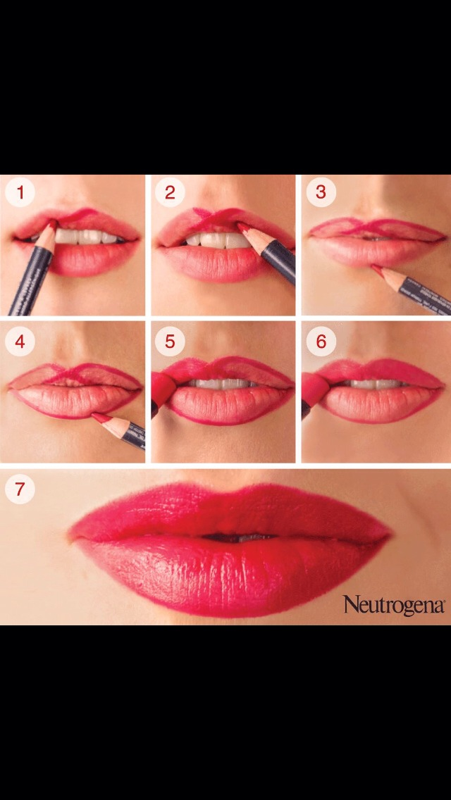 You will get a perfect cupids bow if you apply you liner and lipstick like this!