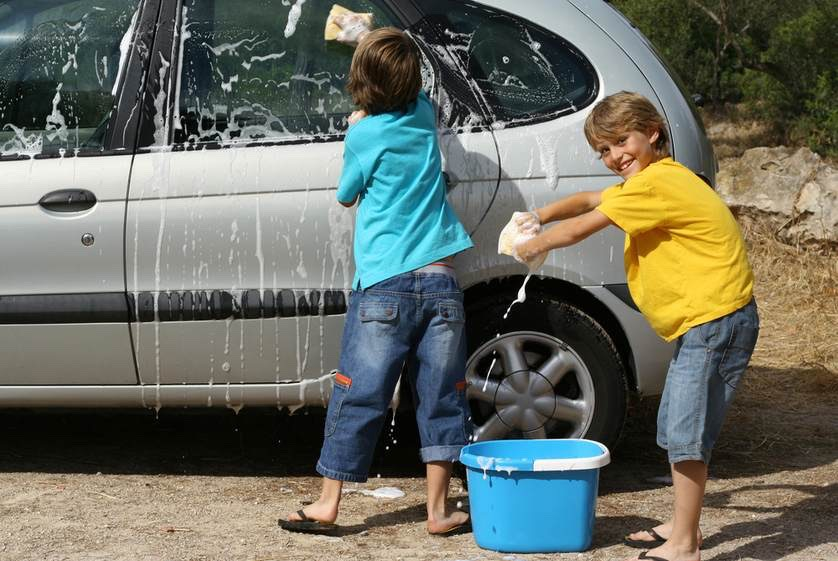 Get a bucket of soapy water a wash a car!