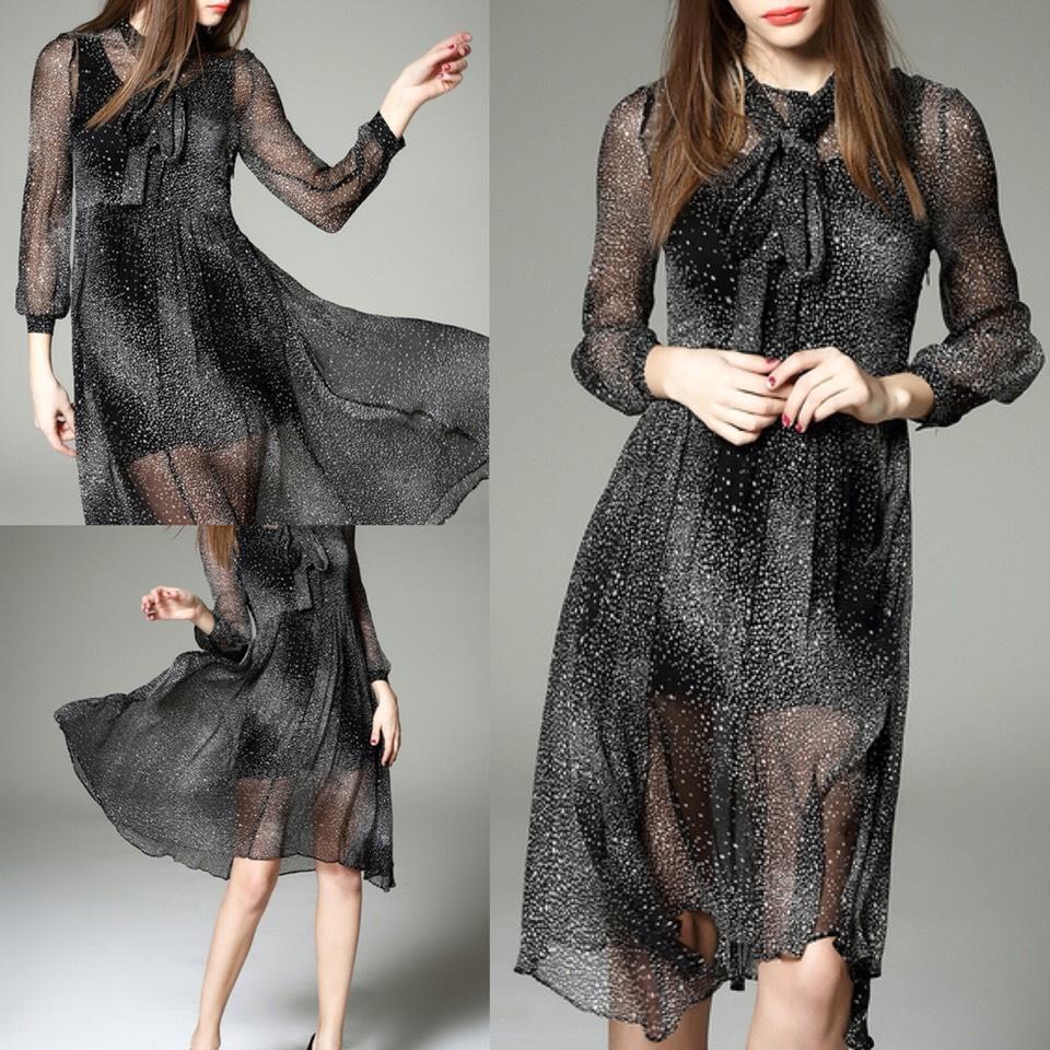 $61.99 http://m.romwe.com/Black-Tie-Neck-Sheer-Star-Knee-Length-Dress-p-150471-cat-664.html
