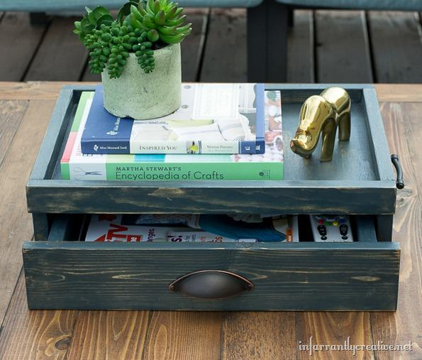 The key to any reuse is a saw and some good paint.   Read the entire tip here - http://www.infarrantlycreative.net/2013/10/coffee-table-tray-with-drawer-lowes-creative-idea.html