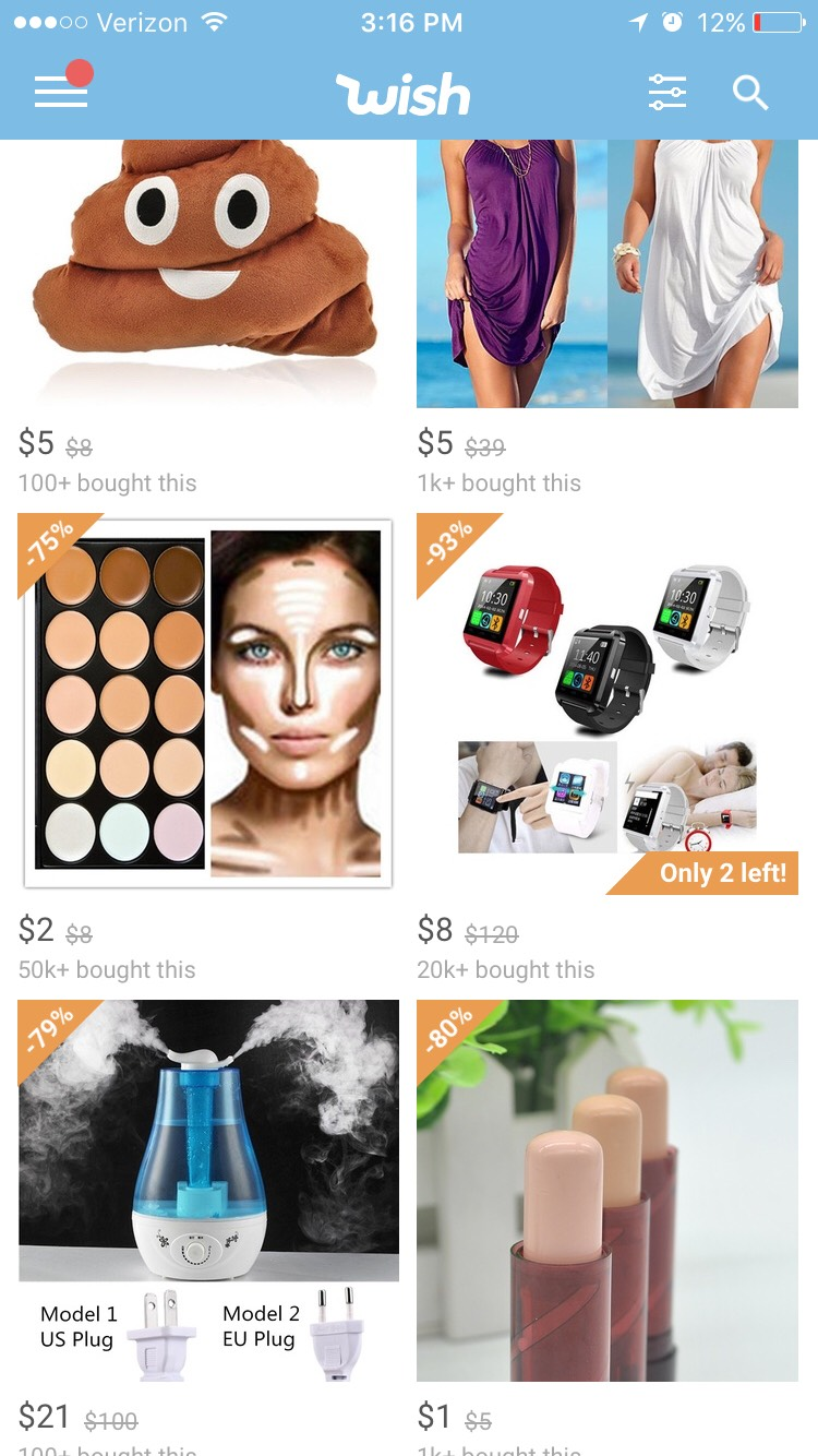On the home screen it shows you products wish thinks you will like by going off of what you have saved and bought.